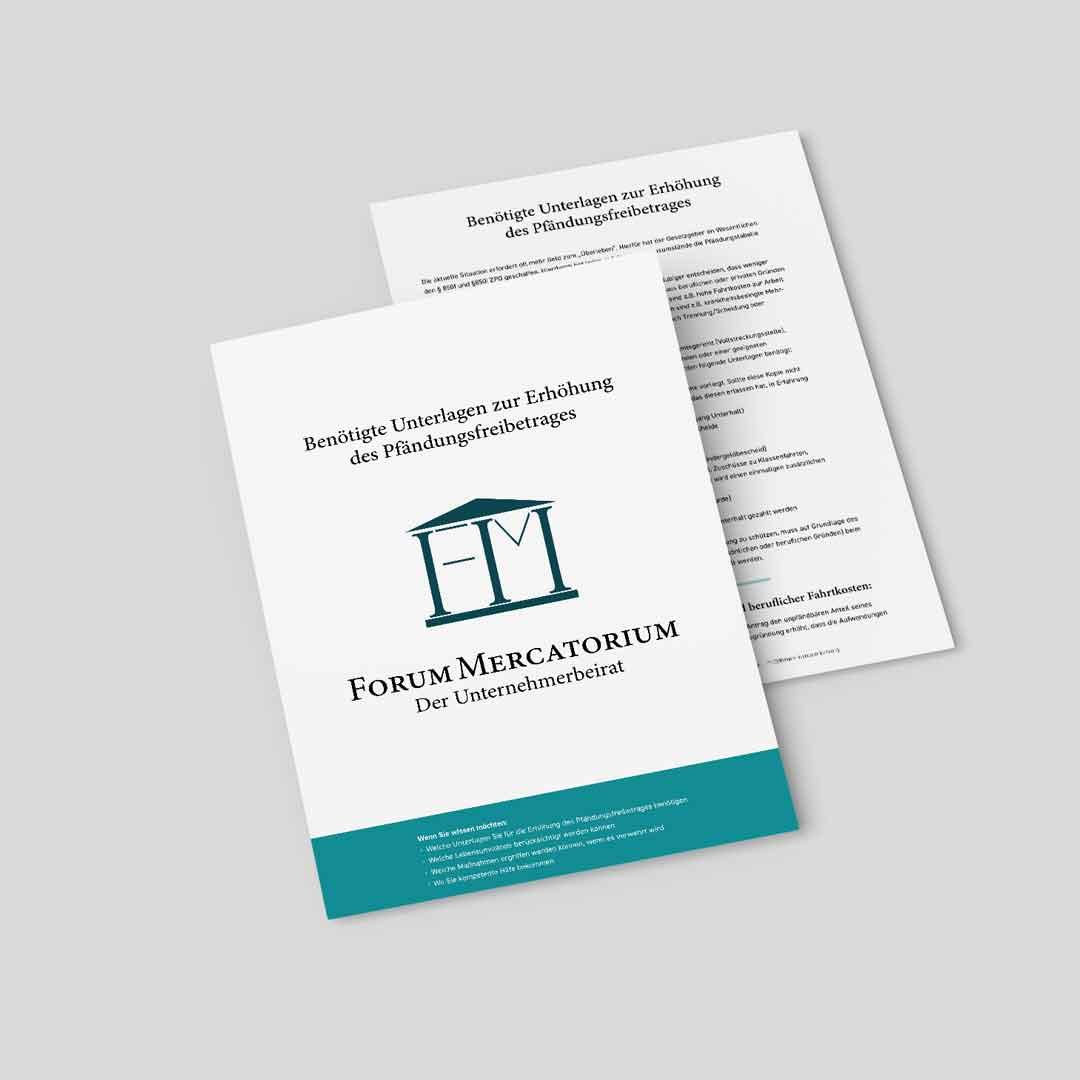 PDF-Download zum Thema Benötigte Unterlagen zur Erhöhung des Pfändungsfreibetrages